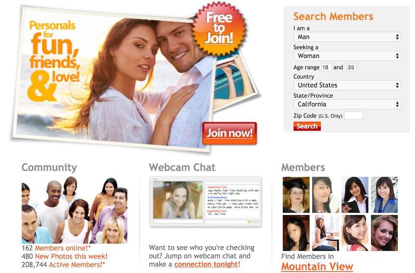 FriendFinder Homepage