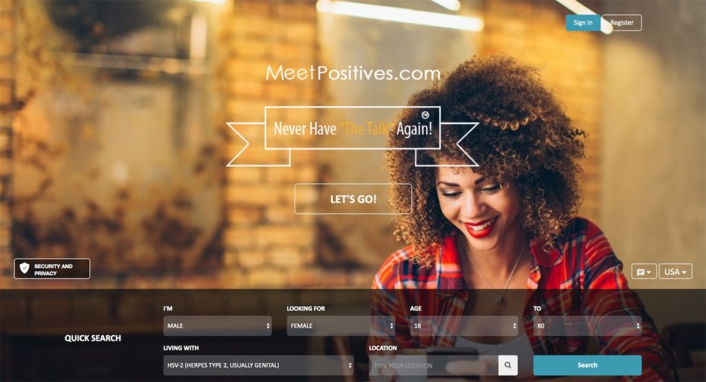 MeetPositives Homepage